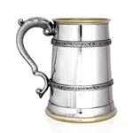 Double Celtic Brass Lip And Base One Pint Pewter Tankard EP152