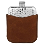 Hammered Purse Pewter Flask 6 Ounces