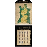 Game of Thrones Map of Westeros and Map Marker Magnet Set