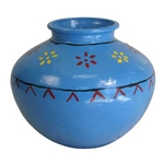 Matka, Blue Ceramic Jug Drum