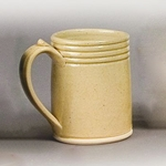 4-Ring Colonial Mug,White Stoneware Drinking Mug