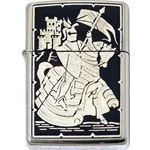 Damascene Zippo Lighter Mounted Knight by Marto 56-M840-005