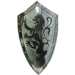 Medieval Rampant Lion Shield Etched Steel with Gold Rivets