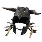 Barbarian Leather LARP Helmet with Foam Horns - Black 61-2006-BR