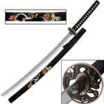 Dragon Samurai Katana Sword Black/Gold Saya 74-2000