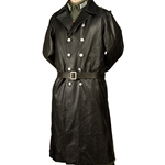 German WWII Leather Greatcoat Black Reproduction