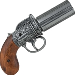 Pewter Finish British 1840 Pepper-Box Revolver