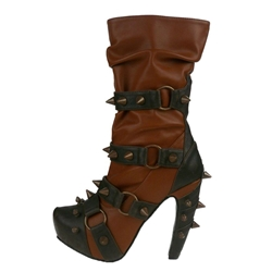 Steampunk Mid-Calf Two-Tone Boots In Brick