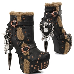 Towering Faux Fur Steampunk Booties