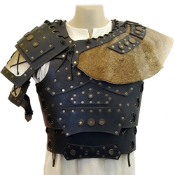 Barbarian Leather Breastplate with Shoulders - Brown