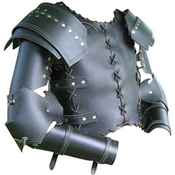 Laced Medieval Leather Armor Cuirass and Arms Set